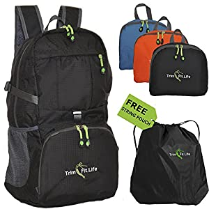TravPack-30L Top Rated Best Lightweight Travel Backpack in USA- Handy Foldable & Durable Hiking Camping Daypack for Men Women & Children-Water Resistant for Outdoor Sports and active lifestyle (Black)