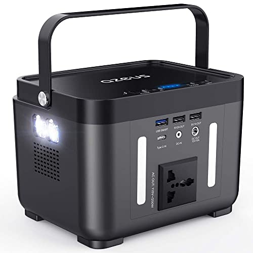 AZEUS Portable Power Station, 250 Wh Backup Battery Generator, Off-Grid Power Supply with 110V 250W Peak 350W AC Outlet for Outdoors Camping Travel Hunting CPAP Emergency