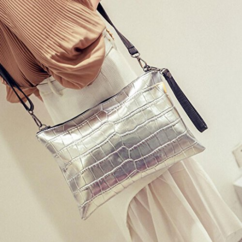 Zipper Ouneed Cross Messenger Body Shoulder Leather Women Bag Silver Shoulder Handbag ® Bag IwarI