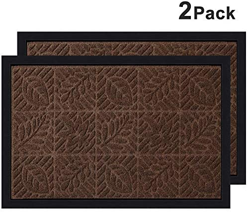 Door Mat Set of 2 Embroidery Weaving Welcome Doormat Outdoor Indoor 18 x28 with Non Slip Rubber Backing Buffalo Plaid Rug 24 x51 for Layering Decorative Easy Clean Front Door Entrance Mats