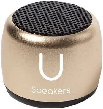 U Micro Speaker - Coin-Sized Portable Wireless Bluetooth 4.2 Gold - TWS Stereo Sound with Built-in Mic and Remote Shutter - 3-Hour Playtime, Aluminum - Perfect for Apple iPhone iOS Android