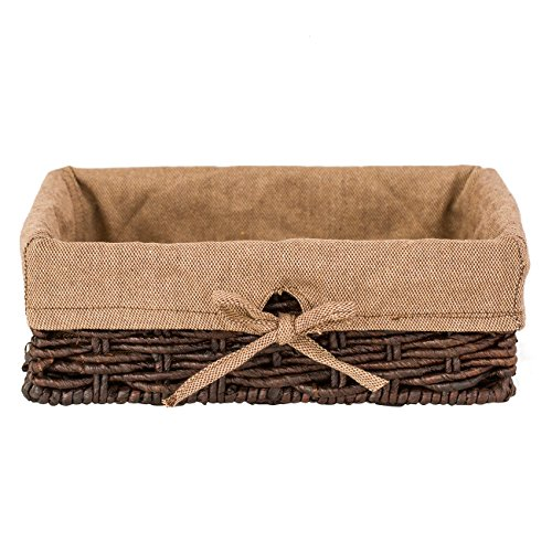 Elimy Woven Seagrass Basket Table Storage Box Organizer with Coffee/ Grey Lining Desktop Baskets 4/6/9 Grid (Coffee-Large)