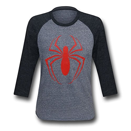 Ultimate Spiderman Symbol Men's Baseball T-Shirt- XLarge
