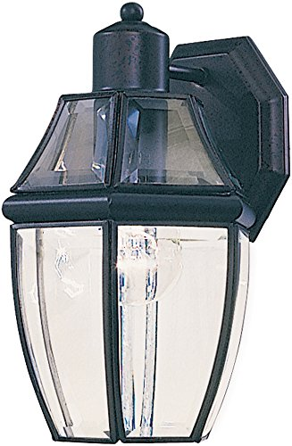Maxim 4010CLBK South Park 1-Light Outdoor Wall Lantern, Black Finish, Clear Glass, MB Incandescent Incandescent Bulb , 13W Max., Damp Safety Rating, 2700K Color Temp, Glass Shade Material, 3600 Rated Lumens