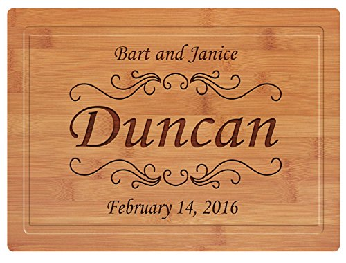 Custom Natural Bamboo Cutting Board Wedding or Engagement Gift, Personalized Your Text or Message (16x12 Inch, Wedding Date & Name w/Groove) -