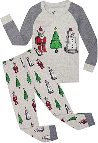 Boys Christmas Pajamas Children Santa Claus PJs Gift Toddler 2 Pieces Pants Set Sleepwear Size 8 Years ()