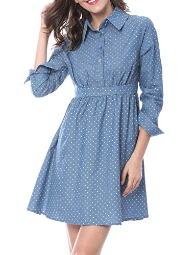 Allegra K Women's Polka Dot Button up Front Chambray A-line Dress M Blue