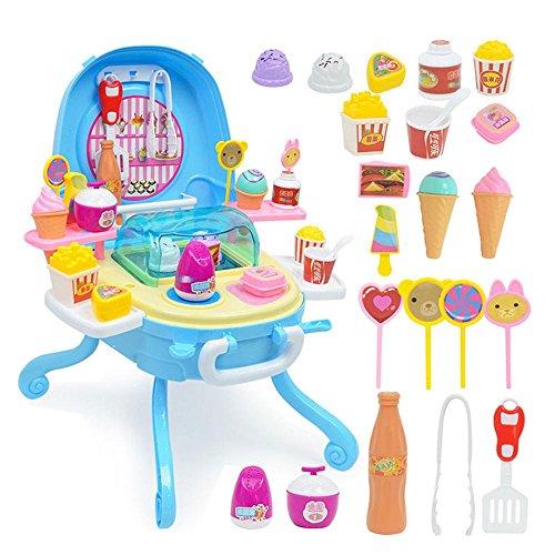 FOONEE Pretend Play Food Ice Cream, Toy Ice Cream Cart,Ice C