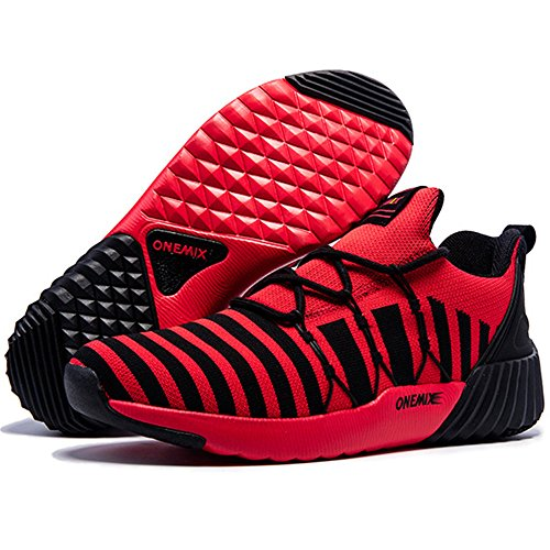 Herren Mesh Breath Laufschuhe Zebra Schnürung Afterburn Downforce Sneaker Rot schwarz