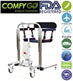 2019 New ComfyGo Ultra Lightweight Full Mesh Sling Hydraulic Electric Patient Lift with Remote Portable Lift with Extra Shower Friendly Seat Waterproof Engine Cover User Friendly Adjustable Lower Back