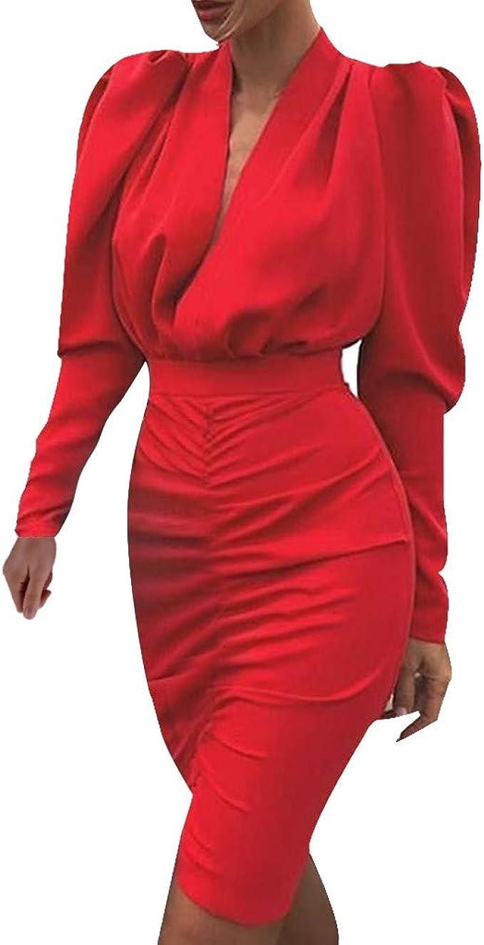 Shenye Damen V-Ausschnitt Volltonfarbe Blase Langarm Tasche Hüftkleid  Winter Puffärmel Falten Etuikleid Business Kleider Bodycon Cocktailkleid