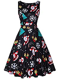 MISSJOY Womens Christmas Dresses Vintage 1950's Sleeveless Floral Rockabilly Garden Party Dress