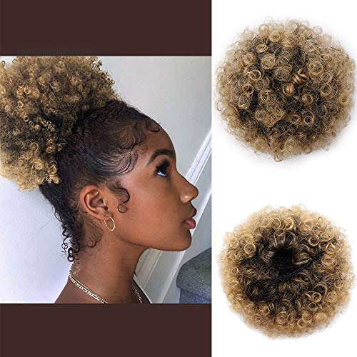 AISI QUEENS Synthetic Afro Puff Curly Hair Ponytail Hairpieces for Updos African American Short Kinky Curly Wrap Bun Drawstring for Women with 2 ClipsT1B/27