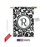 Breeze Decor H130070 Damask R Initial Interests Simply Beauty Vertical House Flag, 28″ x 40″, Multicolor