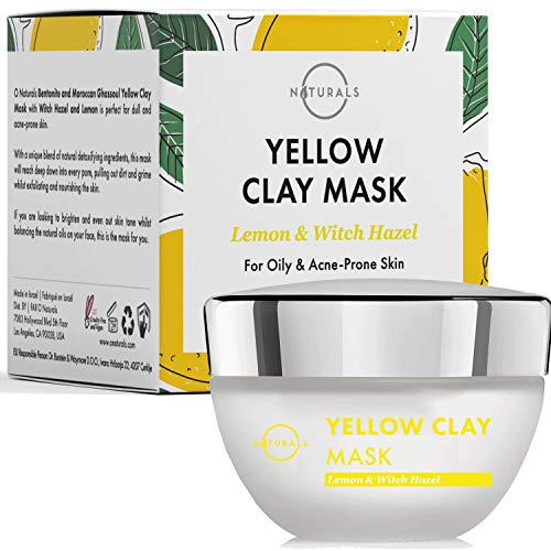 O Naturals Moroccan Rhassoul Yellow Clay Face Mask. For Oily & Acne Prone Skin. Remove Blackheads & Deep Cleanse for Clear Complexion. Pore Minimizer, Reducer Oil Absorbing Lemon & Witch Hazel 1.7 Oz