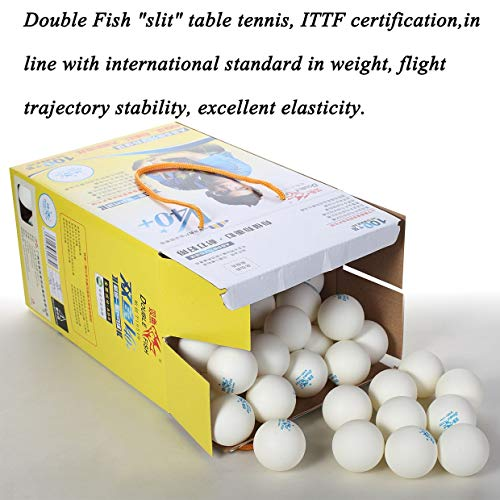 Qewmsg 100pcs/set Double Fish V40+ 3 Stars Table Tennis Balls ABS Polymer Balls