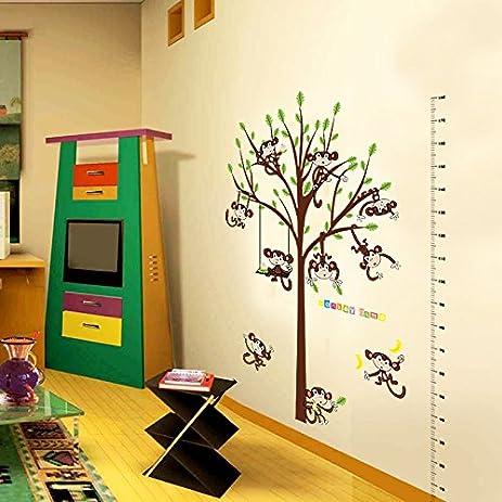 Amazon.com: Carton Monkey Wall Stickers Tree Height Chart Wall Decal ...