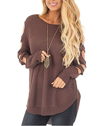Cut Out Long Sleeve (Salimdy Women's Hollow Cut Out Long Sleeve Cold Shoulder Loose Pullover Knit Sweater (S, Brown))