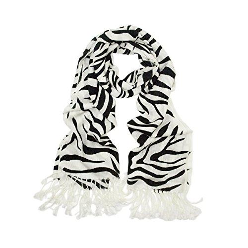 TrendsBlue Elegant Zebra Animal Print Fringe Scarf, Black & White