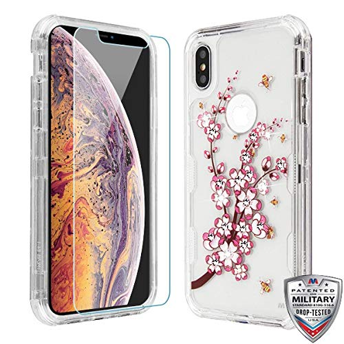 Case+Tempered_Glass+Stylus, TUFF Lucid Hybrid Protector Cover [Military-Grade Certified] Fits Apple iPhone Xs Max/XS Plus MYBAT Transparent Clear/Pink Spring Flowers and Yellow Bees