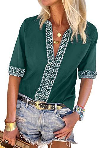 Women V Neck Boho Embroidered Shirt Short Sleeve Summer Tops Casual Blouse Green S