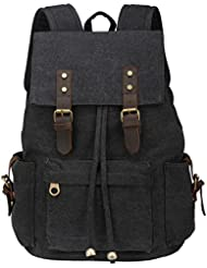Honeystore Unisex School Daypack Vintage Canvas Backpack Hiking Travel Rucksack