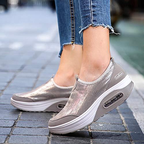 40 White Leisure Gray Leather Lace Sneakers Black Flat Up Top Zipper 35 Shoes JERFER Single Women Shoes Shoes High vUZqBg6