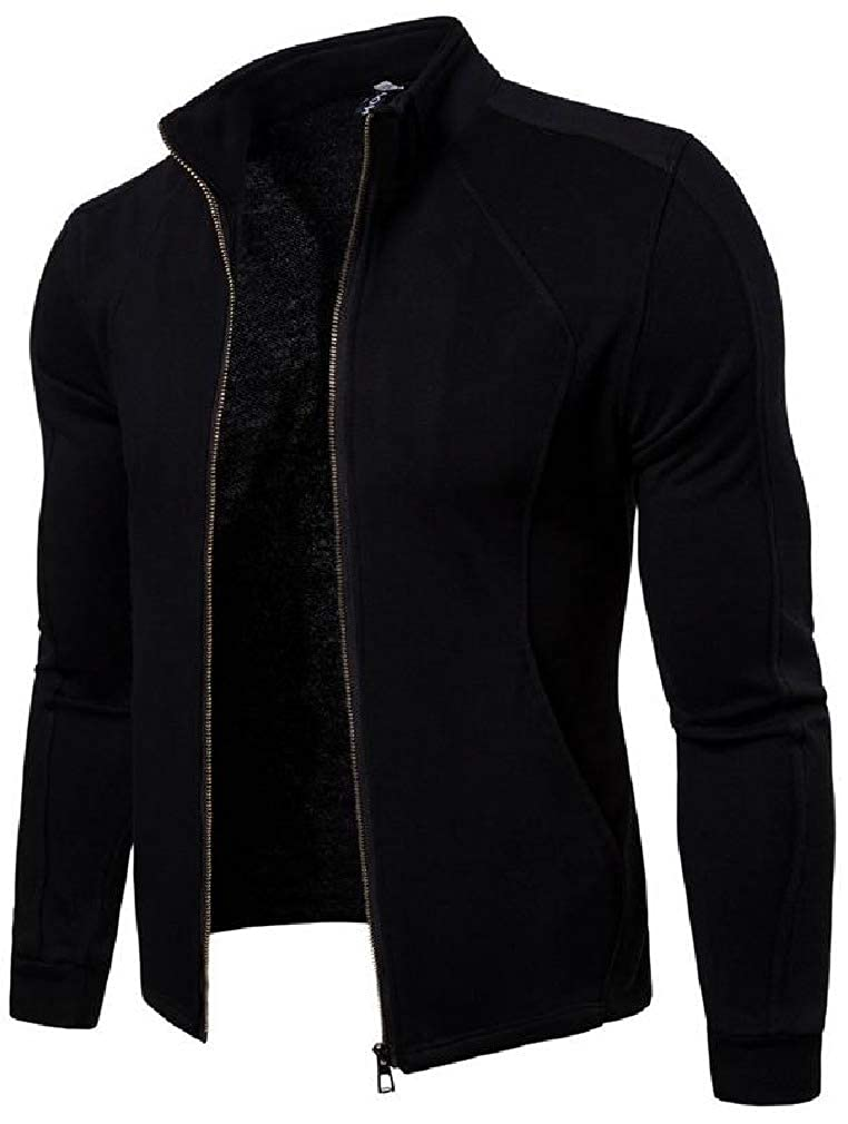 Wofupowga Mens Stand Collar Casual Jacket Sport Zipper Coat Sweatshirt