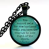 Quote Necklace | Faulkner Quote | Glass Pendant | You Cannot Swim | Inspirational Quote | Literary Quote | Encouraging Quote | Free Gift Box