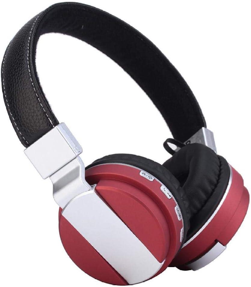 Auricular Bluetooth inalámbrico 4.2 Auricular Bluetooth Auricular TF Radio bt008 Auricular Bluetooth, Rojo