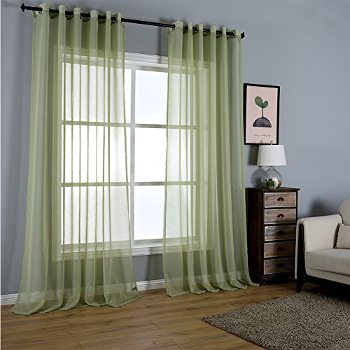 Solid Lime Green Sheer Curtains Grommet/Eyelet Draperie Panel Set 96 Inches Long for Living Room Bedroom 52