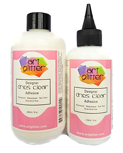 Art Glitter Designer Dries Clear Adhesive 8 oz Refill & 4 oz With Applicator Tip by Art Glitter