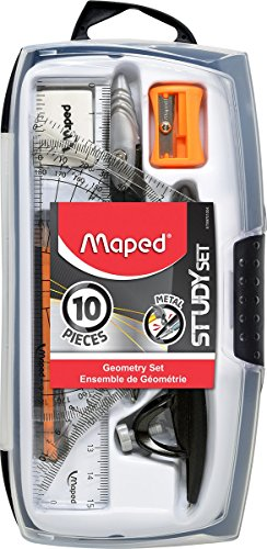 "Maped Geometry Set, 10 piece set includes: 2 Metal Study Compasses, Eraser, Pencil Sharpener, 4"" Protractor, 2 Triangles (45° & 30°/60°), Pack of Leads, Pencil for Compass, 6"" Ruler, Compass Draws up to 10"" Diameter Circle (897010)"
