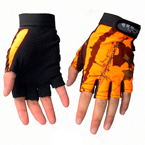 Meiyiu Outdoor Fingerless Gloves Waterproof Sun Protection Gloves Breathable Antiskid Fishing Gloves Orange