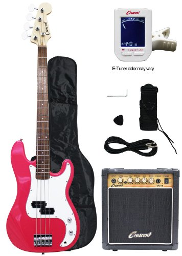 Crescent Electric Bass Guitar Starter Kit – Pink Color (Includes Amp & CrescentTM Digital E-Tuner)
