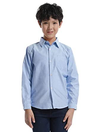 db2fda4ee2606 Petit Garçon Fille Chemise Manches Longues Coton T-Shirt Tenues pour Petit  Enfant N003 Bleu