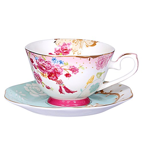 AWHOME Bone China Teacup and Saucer Sets Vintage Royal Style Tea Cup Red Flower Set 7-OZ