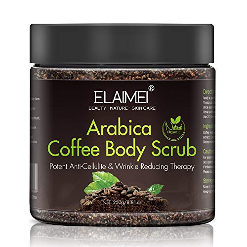 100% Natural Arabica Coffee Body Scrub with Dead Sea Salt, Treat Uneven Skin tones, Sun Spots, Dull Sin, Help Brighten Skin Deep Skin, Butt and legs Exfoliator with Caffeine- Portable Packaging 8.8 oz