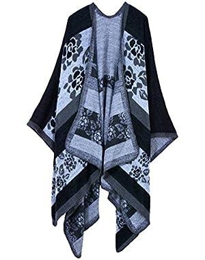 Women Oversized Cashmere Knitted Poncho Cape Cardigan Coat Shawl Wrap