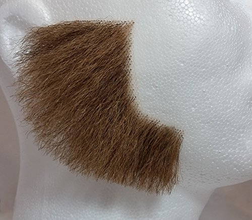 Sideburns LIGHT BROWN - 100% Human Hair - no. 2019 - REALISTIC! Perfect for Theater - Reusable!