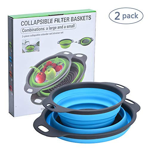 Dishwasher Plastic Colander Safe (Collapsible Colanders, VBESTLIFE Kitchen Colander Sets, Space-Saver Folding Silicone Strainers, 100% Food Grade Silicone and BPA Free, Sizes 11.8