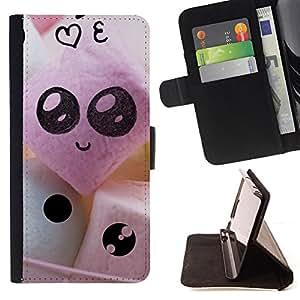 - Funny Cute Faces - - Monedero PU titular de la tarjeta de cr????dito de cuero cubierta de la caja de la bolsa FOR Apple Iphone 6 PLUS 5.5 RetroCandy