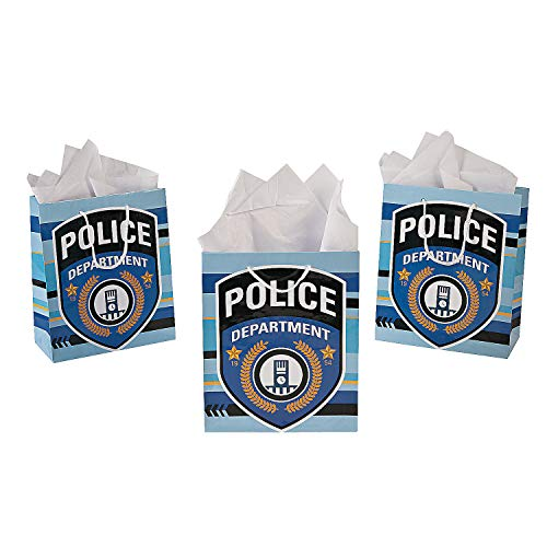 Fun Express Pack of 12 - Police Party Medium Gift Bags - Party Loot Bags -