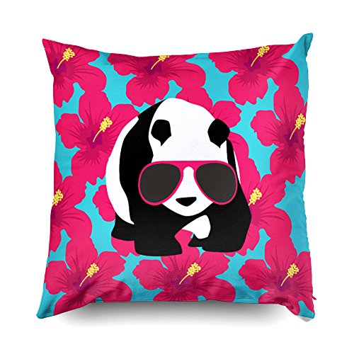 Shorping Zippered Pillow Covers Pillowcases 16X16 Inch funny panda bear beach bum cool sunglasses tropics Decorative Throw Pillow Cover,Pillow Cases Cushion Cover for Home Sofa ()