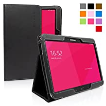 Galaxy Note 10.1 (2014) Case, Snugg - Black Leather Smart Case Cover [Lifetime Guarantee] Samsung Galaxy Note 10.1 (2014) Protective Flip Stand Cover with Auto Wake / Sleep