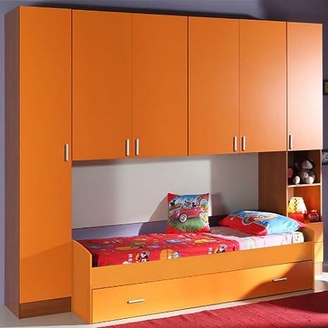 Cameretta A Ponte Arancione.Armadio Ponte Cameretta Bambino Colorata Ciliegio Arancione Ar2500