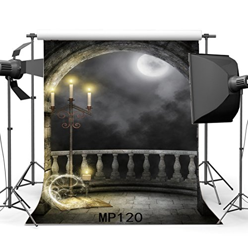 Gladbuy 7X7FT Gothic Backdrop Magic Book Shining Moon Night Candlestick Dark Cloud Weathered Grunge Brick Wall Arch Door Vinyl Photography Background Kids Adults Masquerade Photo Studio Props MP120 -