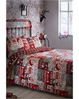 Portfolio Christmas Scrapbook Quilt Duvet Cover and 2 Pillowcases Bedding Bed Set, Red, King