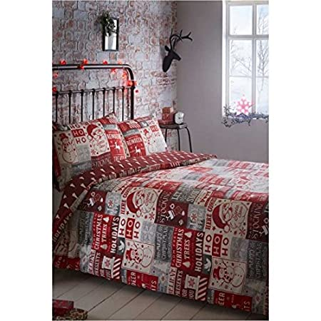 Portfolio Christmas Scrapbook Quilt Duvet Cover And 2 Pillowcases Bedding Bed Set Red Double