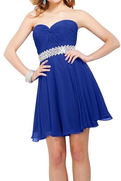 Gorgeous Novia Corto Gasa Vestido de fiesta de dama Homecoming vestido Azul Azul Real